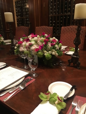 Wine room table pink green cp2